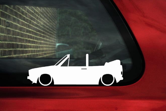 2x Low car outline stickers - for Volkswagen Mk1 Golf convertible cabrio cabby classic